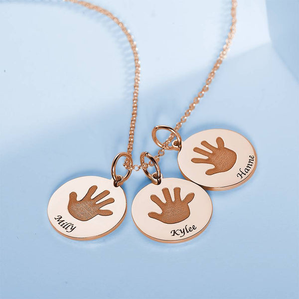 Children Handprint Round Necklace, Engraved Necklace Rose Gold Plated