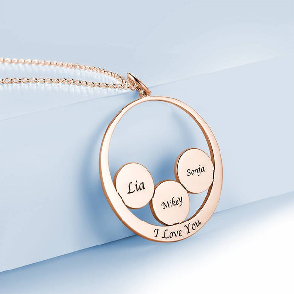 Personalized Round Shape Engraved Necklace Rose Gold Plated