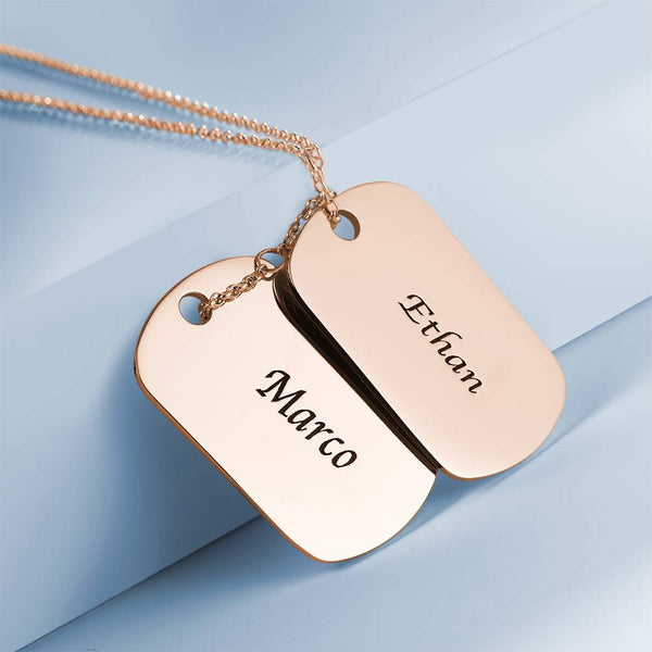 Engraved Two Dog Tag Necklace Rose Gold Plated