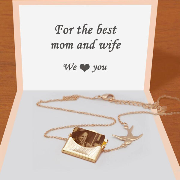 Personalized Photo Engraved Handbag Necklace Rose Gold