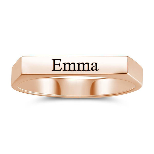 Custom Name Ring Engraved Bar Ring Rose Gold Plated