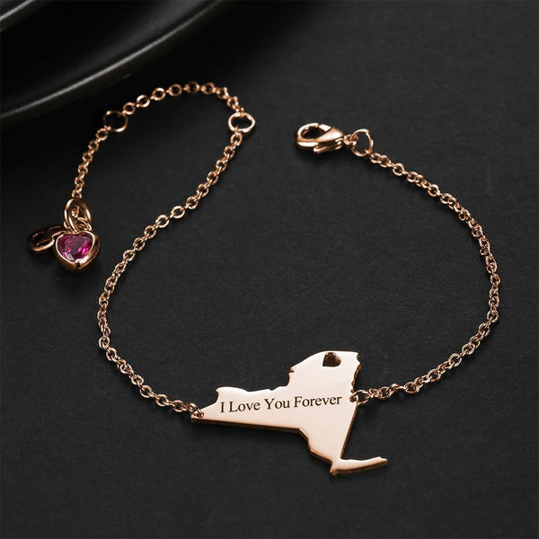 U.S. State Engraved Bracelet with Custom Birthstone Rose Gold Plated
