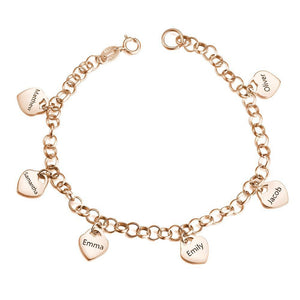 Women's Heart Shape Engraved Tag Bracelet With Engraving Copper in Rose Gold