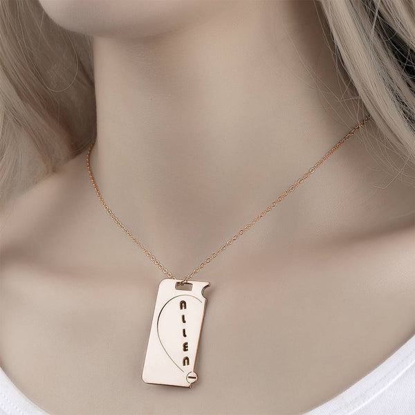 Personalized Couples Necklace Broken Heart Name Necklace Rose Gold