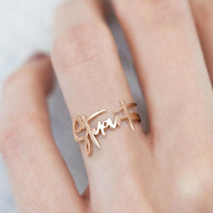 Personalized Handwriting Name Ring Special Gift Rose Gold Plated
