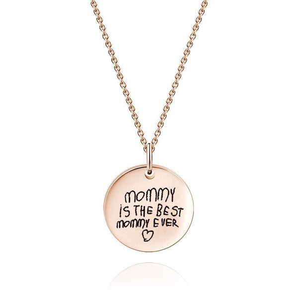 Custom Actual Handwriting Engraved Disc Necklace Copper in Rose Gold Plated