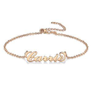 Custom Name Anklet Personalized Jewelry Rose Gold Plated