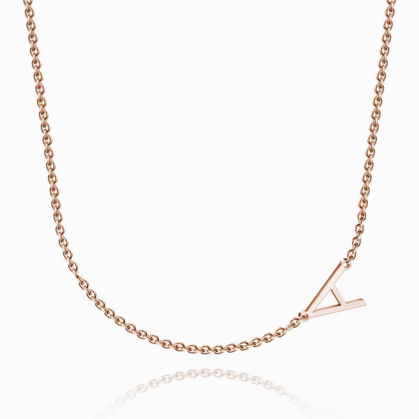 Initial Name Necklace Rose Gold Plated