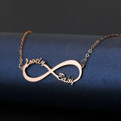Personalized Gift Children's Infinity Name Necklace Rose Gold Plated