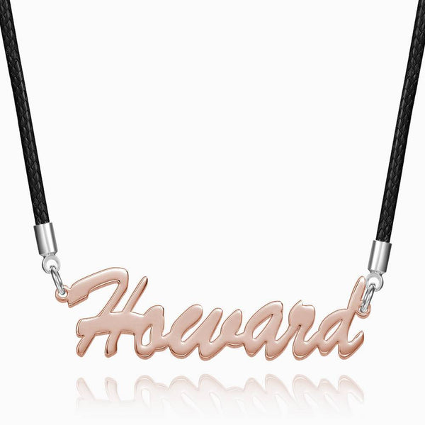 Personalized Men's Name Necklace Rose Gold Plated