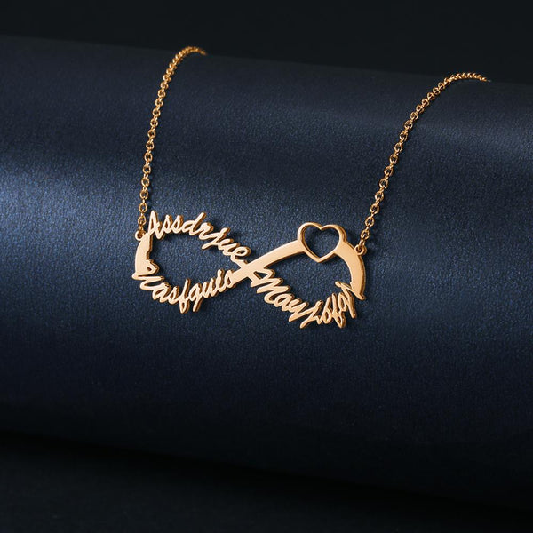 Infinity Three Name Necklace Copper in Rose Gold Plated