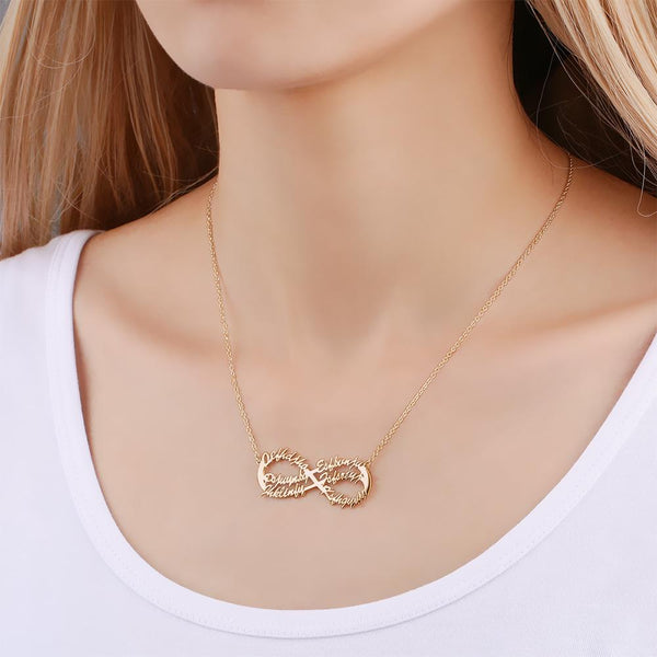 Infinity Six Name Necklace Copper in Rose Gold Plated