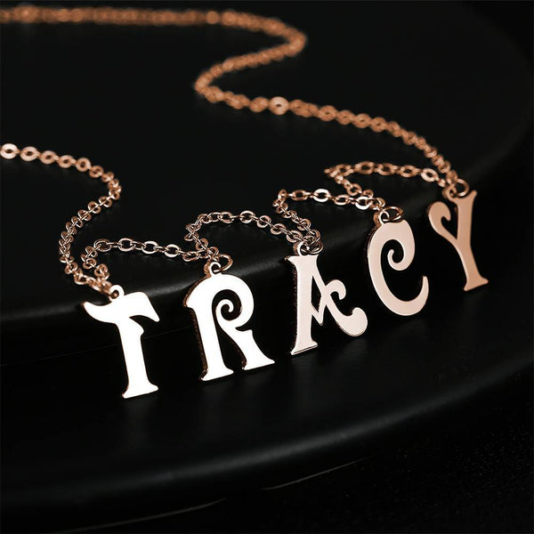 Initial Letter Name Necklace Rose Gold Plated(1-9 Letters)