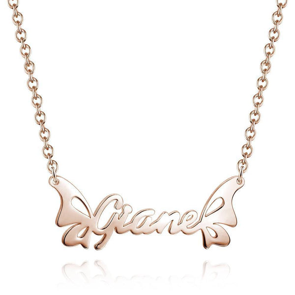 Personalized Butterfly Name Necklace Rose Gold