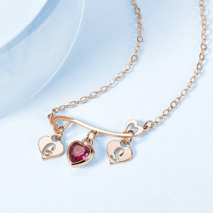 Heart-shaped Initial Birthstone Necklace Rose Gold Plated