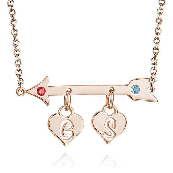 Arrow with Two Hearts Initial Birthstone Necklace Rose Gold Plated -  Love Name Necklace