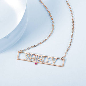 Hollow Carved Bar Name Necklace with Custom Birthstone Rose Gold Plated
