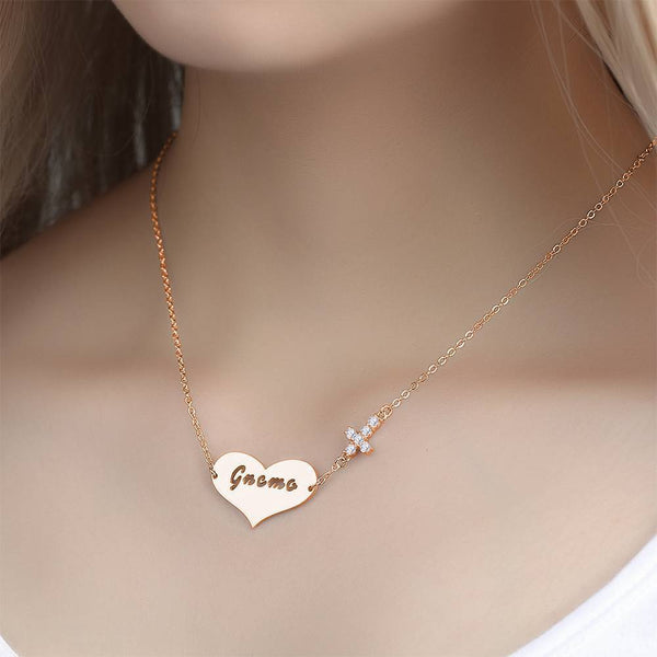 Hollow Letter with Cross Engraved Necklace Rose Gold Plated