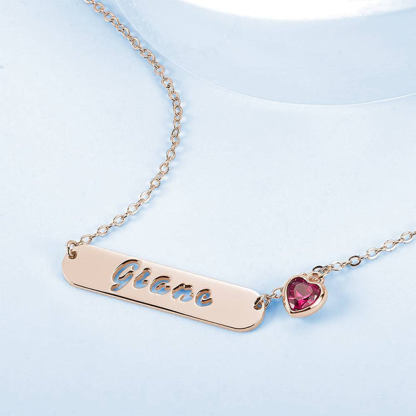 Hollow Carved Bar Name Necklace with Heart-shaped Birthstone Rose Gold Plated
