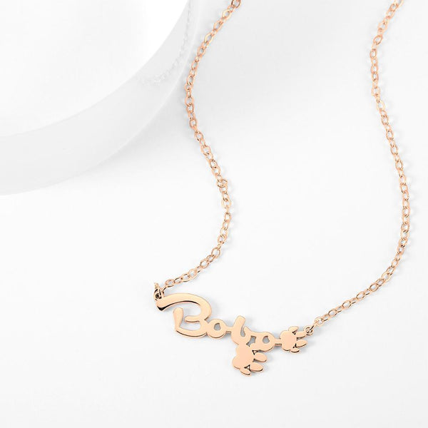 Personalized Name Necklace With Cute Footprint Rose Gold Plated