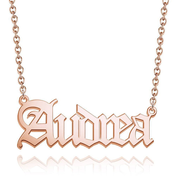 Personalized Old English Name Necklace Rose Gold Plated