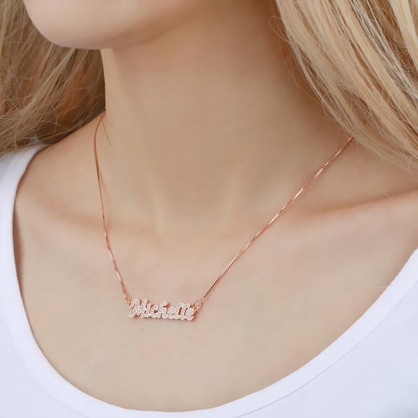 Personalized Name Neckalce Shining Zircon Stone Necklace in Rose Gold Plated