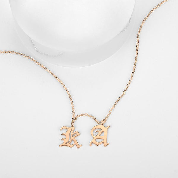Custom Two Letter Old English Name Necklace Rose Gold Plated