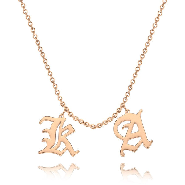Custom Two Letter Old English Name Necklace 14K Gold Plated For Her