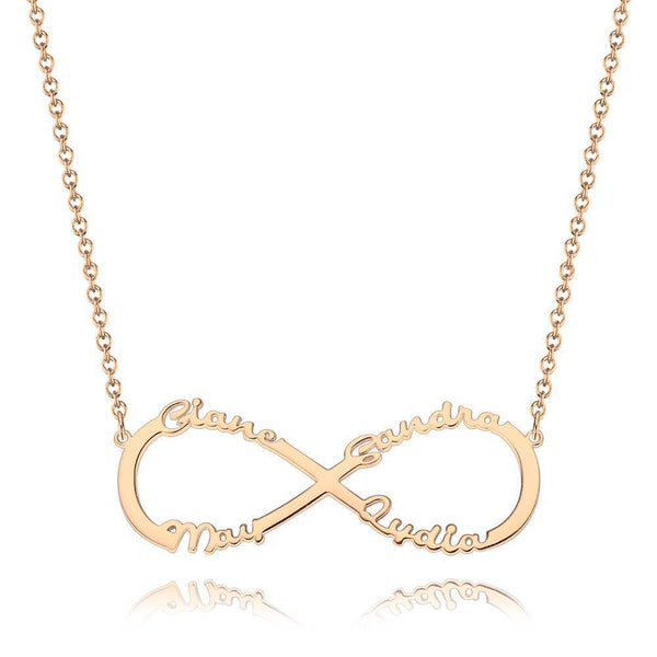 Ponalized Infinity Four Name Necklace Copper in Rose Gold Plated
