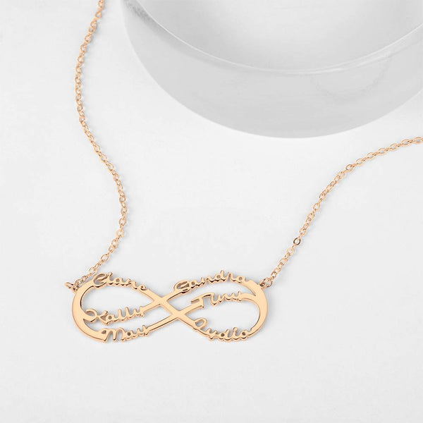 Personalized Infinity Six Name Necklace Copper in Rose Gold Plated