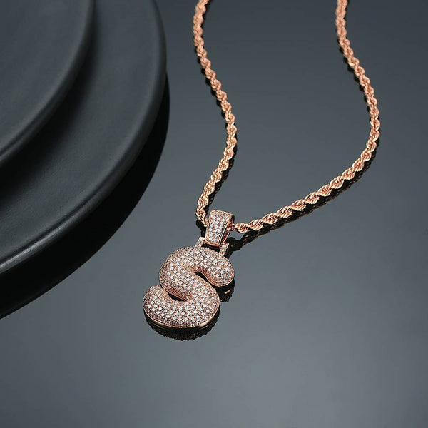 Custom Initial Letter Pendantt Iced-out Jewelry Rose Gold Plated