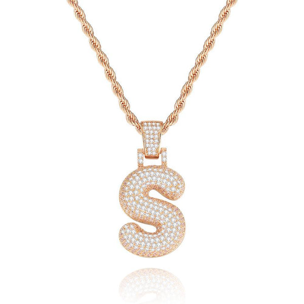 Custom Initial Letter Pendantt Iced-out Jewelry 14K Gold Plated For Her