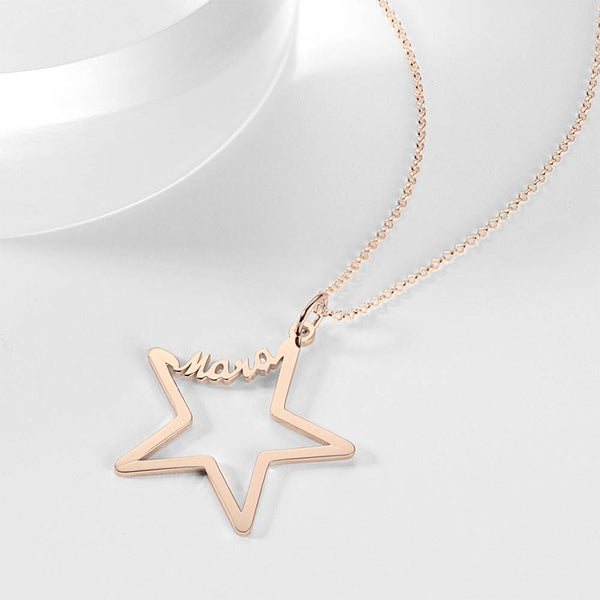 Personality Name Necklace Star Shaped Rose Gold Plated