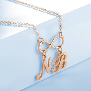Personalized Infinity Love Two Name Initial Letter Necklace Copper in Rose Gold