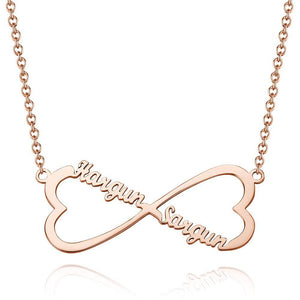Personalized Two Heart Infinity Name Necklace Copper in Rose Gold