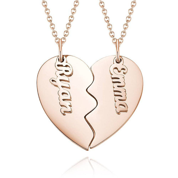 Personalized Love Shape For Couple Name Necklace Copper in Rose Gold