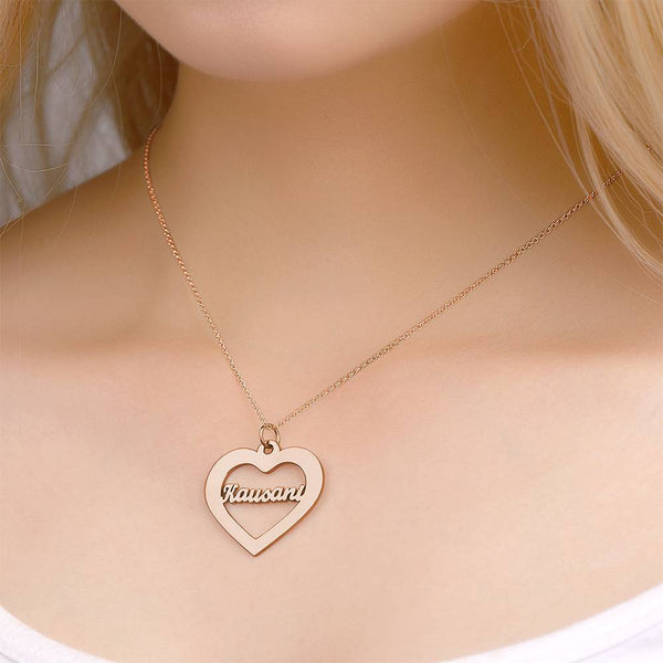 Personalized Love Shape Personality Name Necklace Copper in Rose Gold