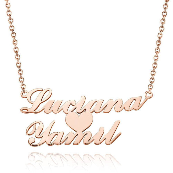 Personalized Two Name Necklace with Heart Copper in Rose Gold