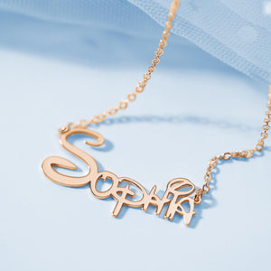 Custom Disney Name Necklace Gift for Her Rose Gold Plated