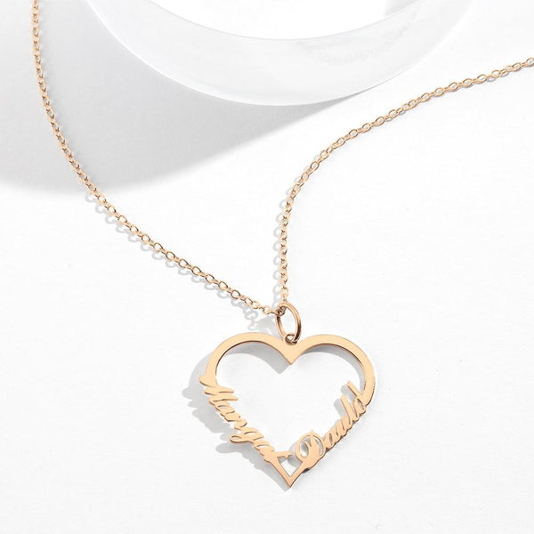 Custom Heart shaped Two Name Necklace Perfect Gift Rose Gold