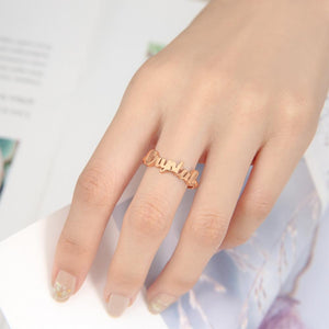 Name Rings for Women Copper Rose Gold Plated