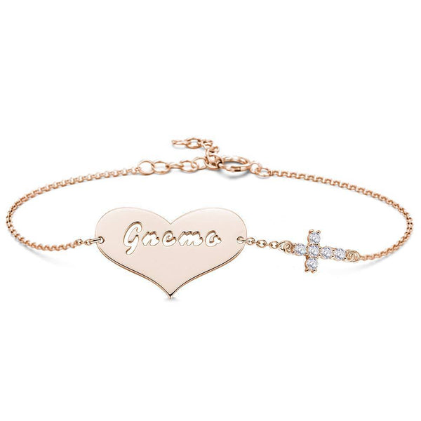 Hollow Letter with Cross Engraved Bracelet Rose Gold Plated