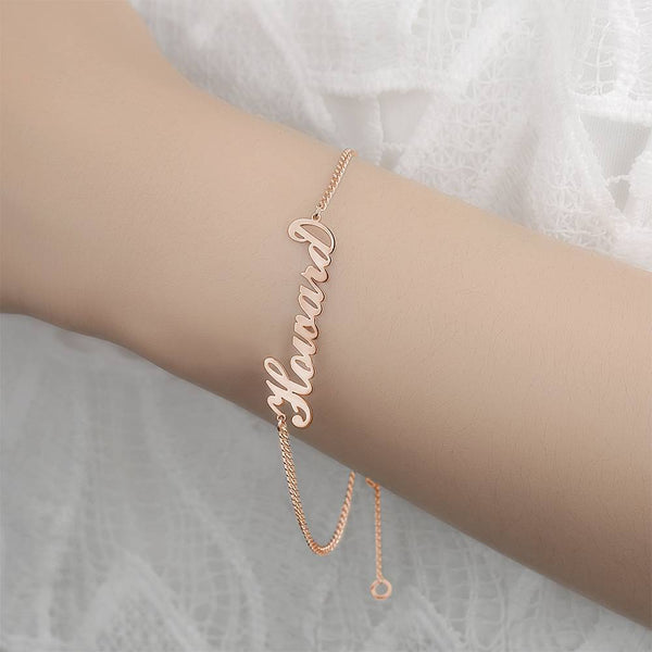 Personalized Name Bracelet Any Name Bracelet Rose Gold Plated For Her