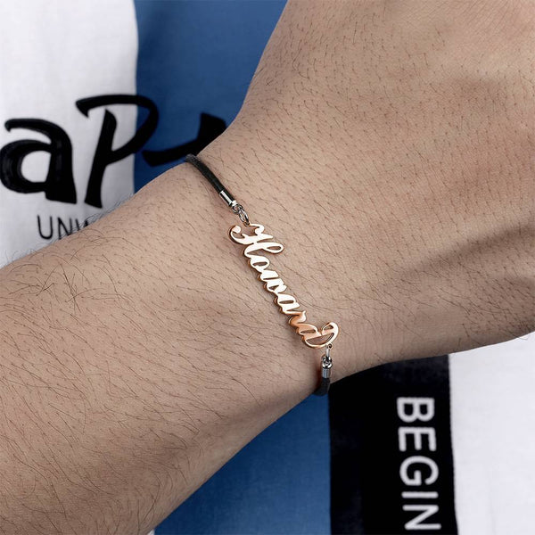 Personalized Men's Name Bracelet Any Name Bracelet Rose Gold Plated For Her