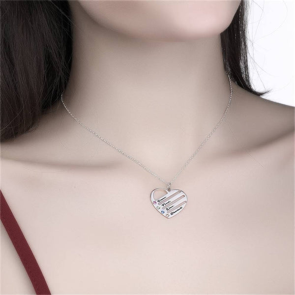 Engraved Heart Birthstone Necklace with Copper in Silver
