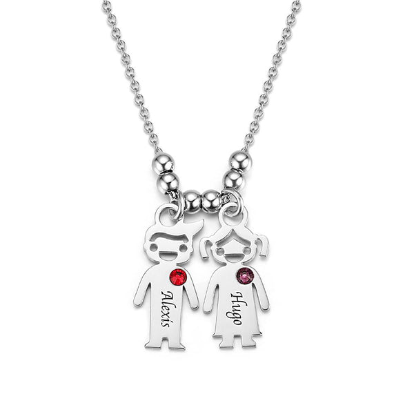 Kids Charms Mother Necklace with Diamond Silver
