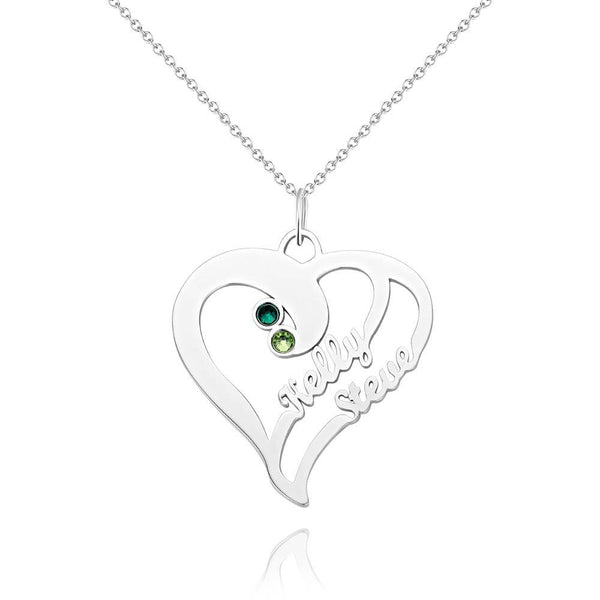 Personalized Overlapping Heart Two Name Birthstone Necklace