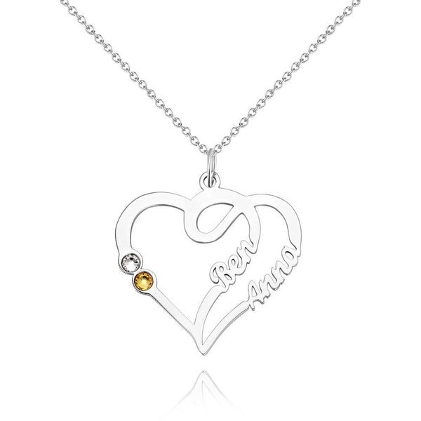 Custom Personality Overlapping Heart Two Name Birthstone Necklace