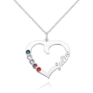 Custom Personality Heart Shape Name Necklace With Birthstone