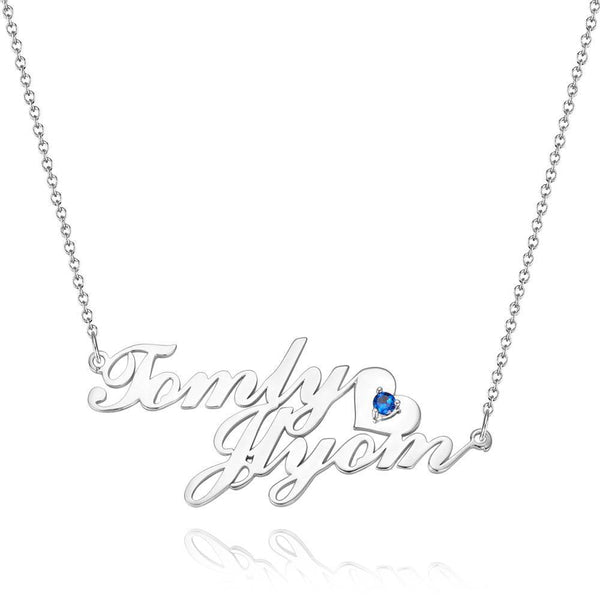 Personalized Two Name Necklace, Birthstone Necklace with Heart
